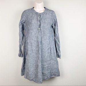 Tahari 100% Linen Black Long Sleeve Dress Pockets